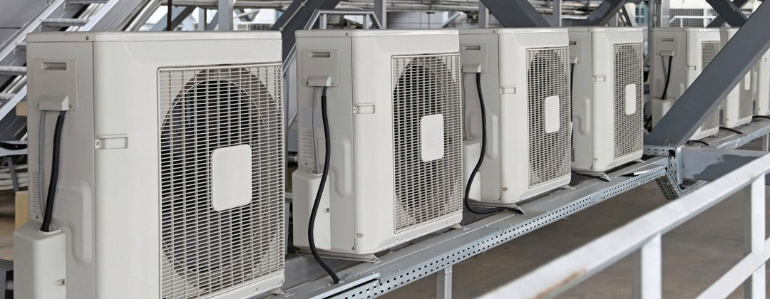 air conditioning units on a rack
