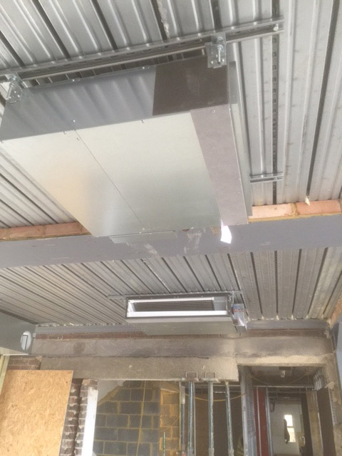 Air conditioning install on ceiling